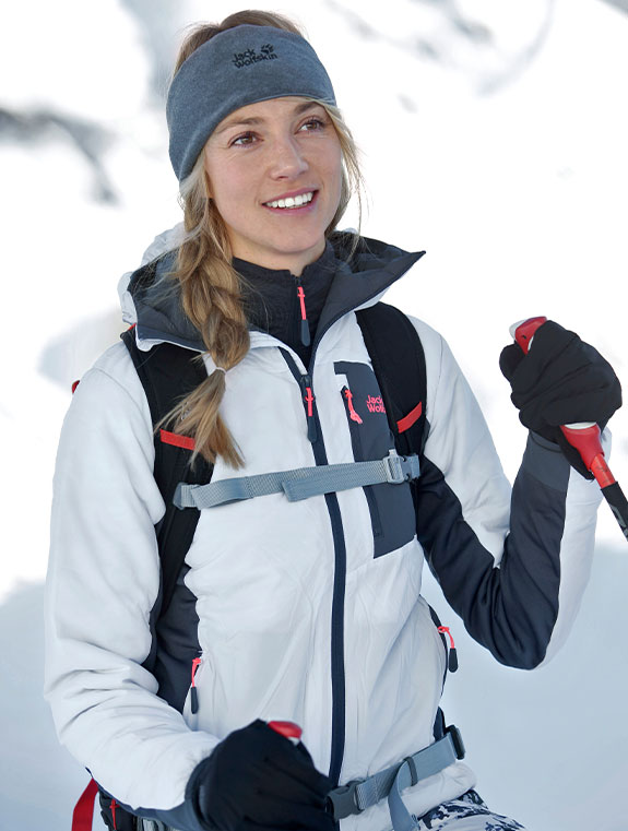 Woman kitted out in skiwear